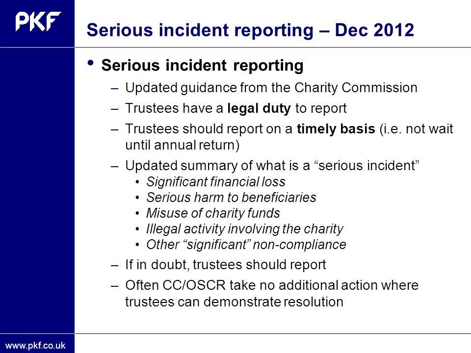 Serious incident reporting – Dec 2012