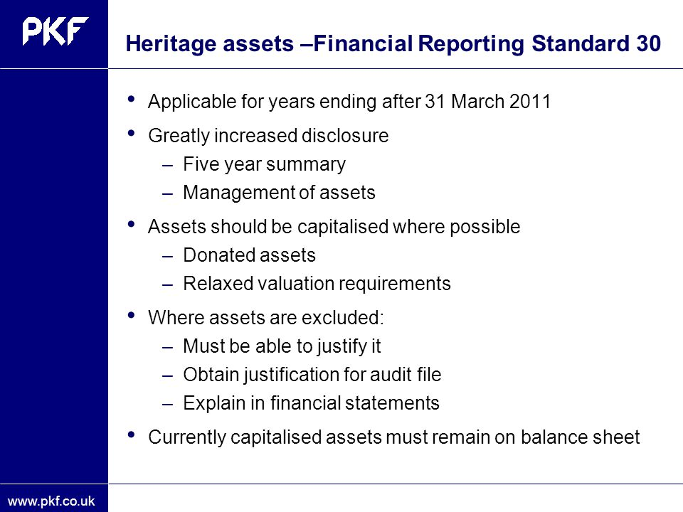 Heritage assets –Financial Reporting Standard 30