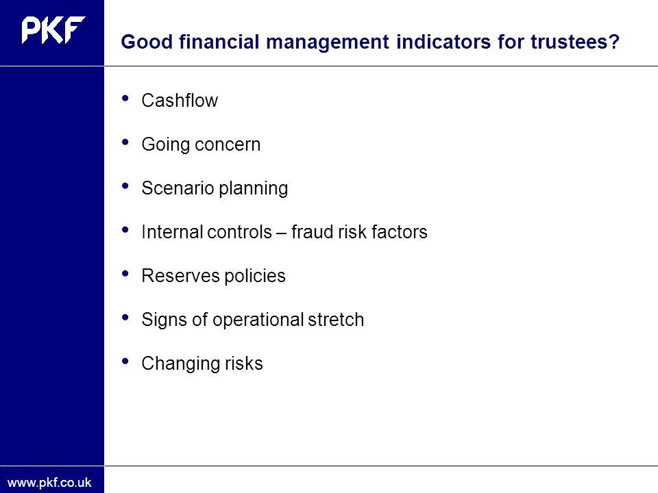 Good financial management indicators for trustees