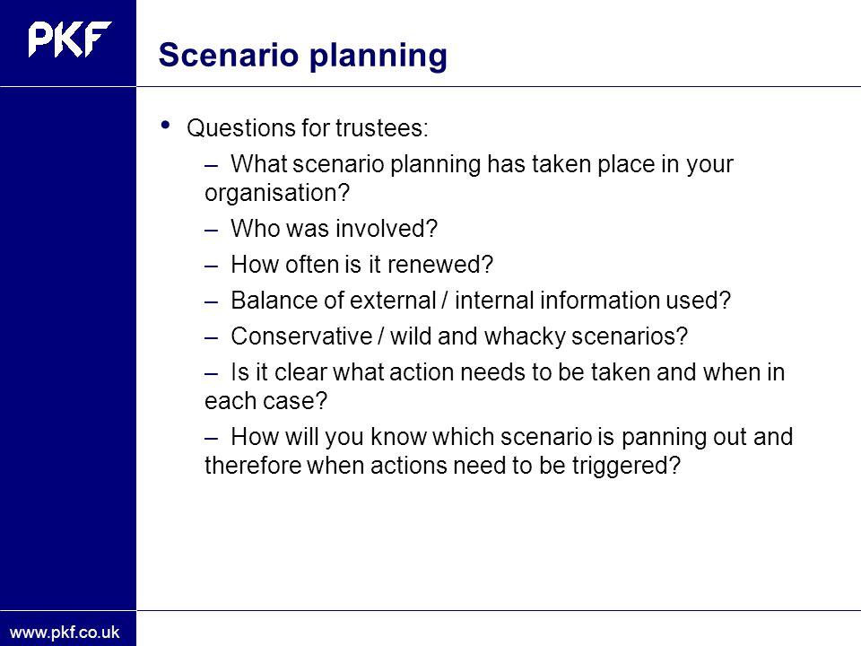 Scenario planning Questions for trustees:
