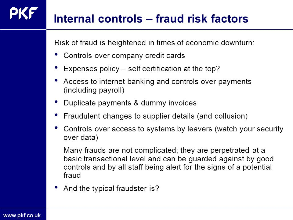 Internal controls – fraud risk factors