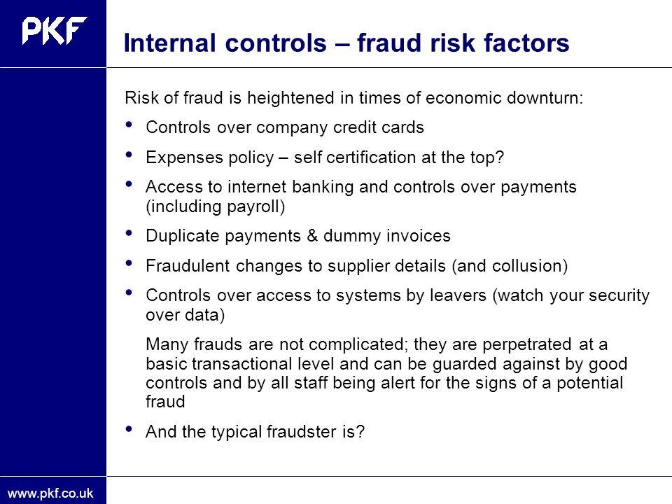 Internal controls – fraud risk factors