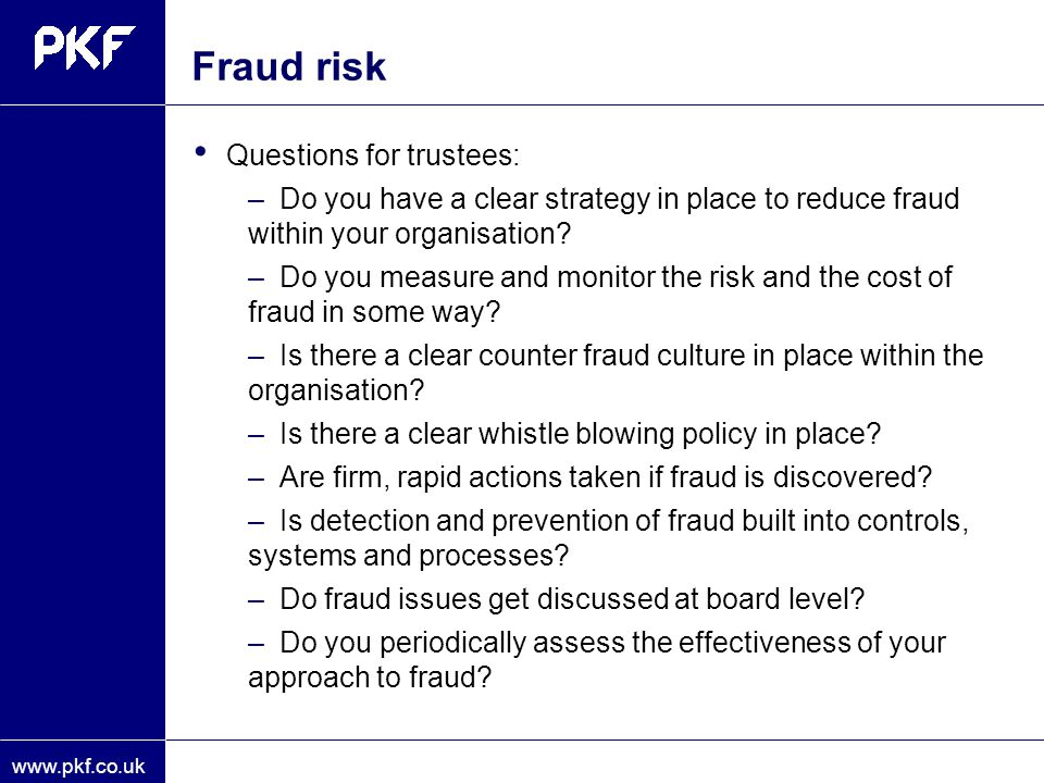 Fraud risk Questions for trustees:
