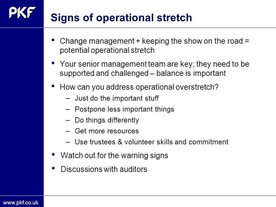 Signs of operational stretch