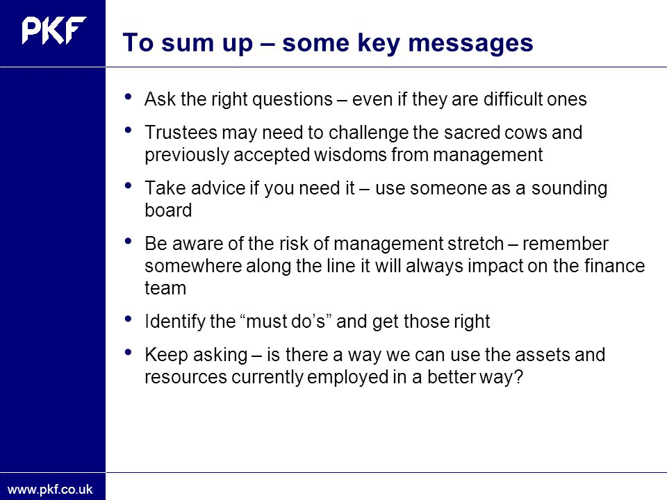 To sum up – some key messages