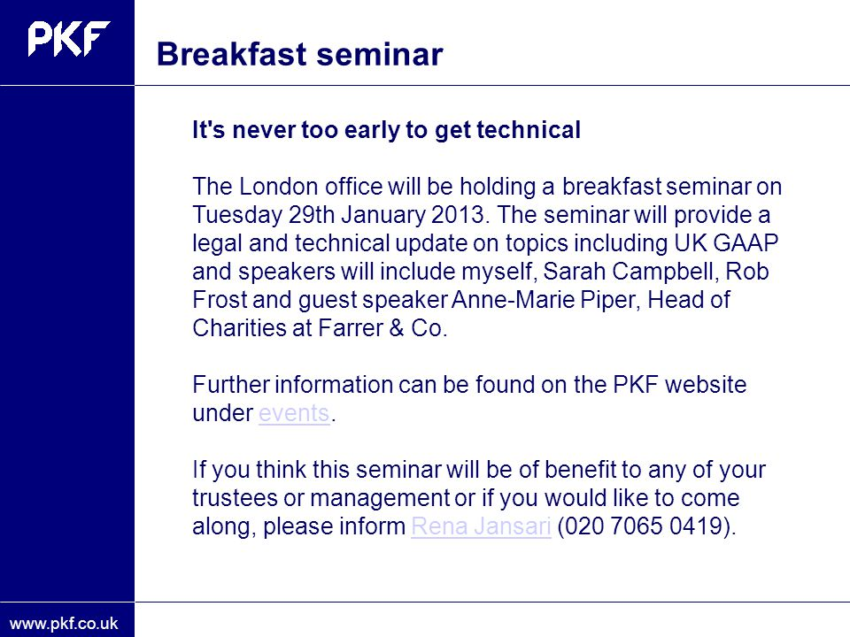 Breakfast seminar It s never too early to get technical