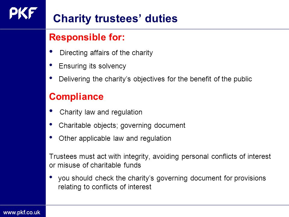 Charity trustees' duties