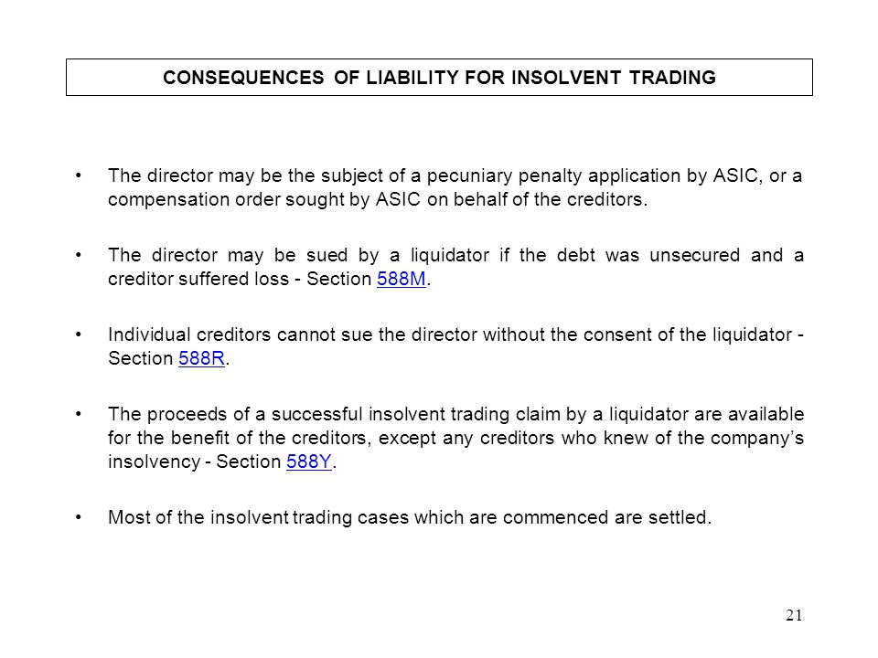 CONSEQUENCES OF LIABILITY FOR INSOLVENT TRADING