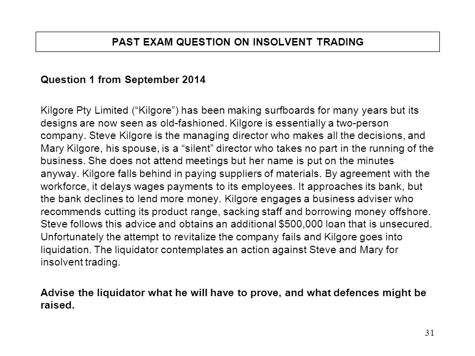 PAST EXAM QUESTION ON INSOLVENT TRADING