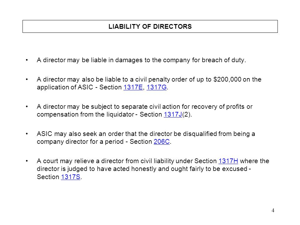 LIABILITY OF DIRECTORS
