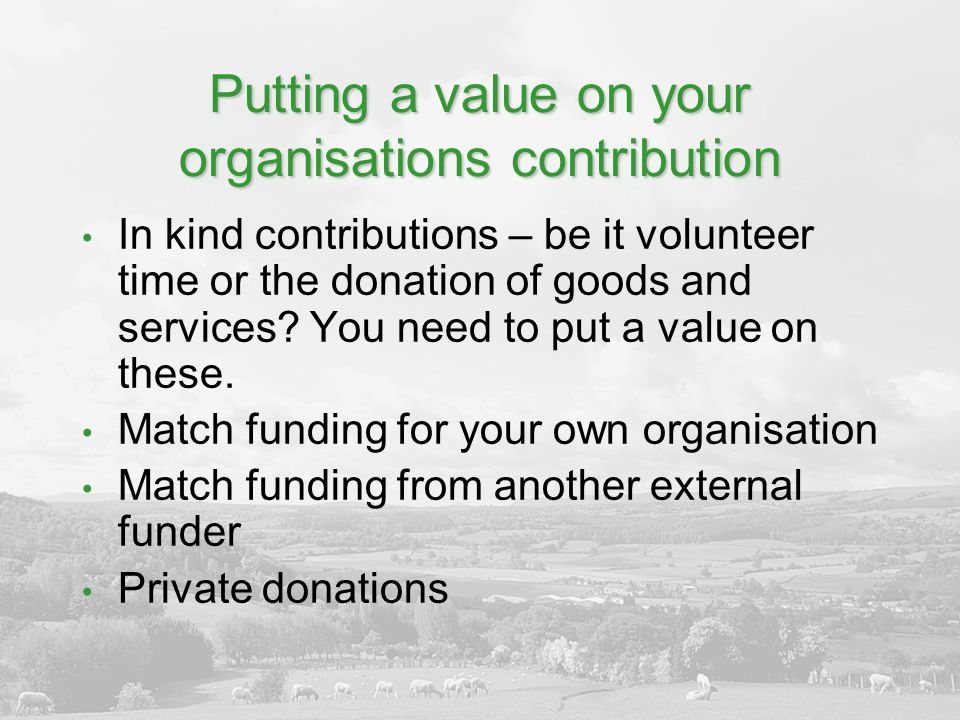 Putting a value on your organisations contribution