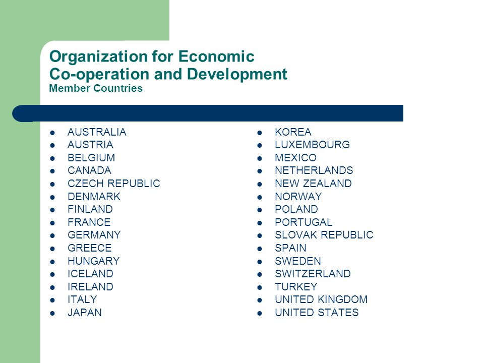 Organization for Economic Co-operation and Development Member Countries