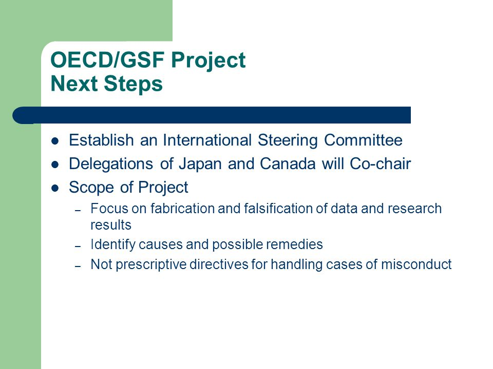 OECD/GSF Project Next Steps