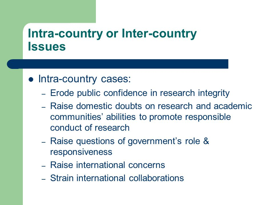 Intra-country or Inter-country Issues