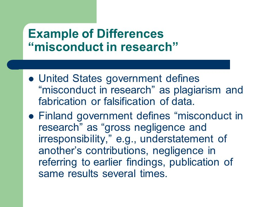 Example of Differences misconduct in research