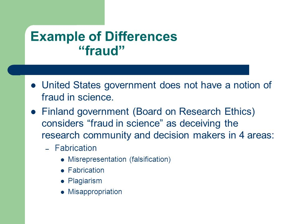Example of Differences fraud