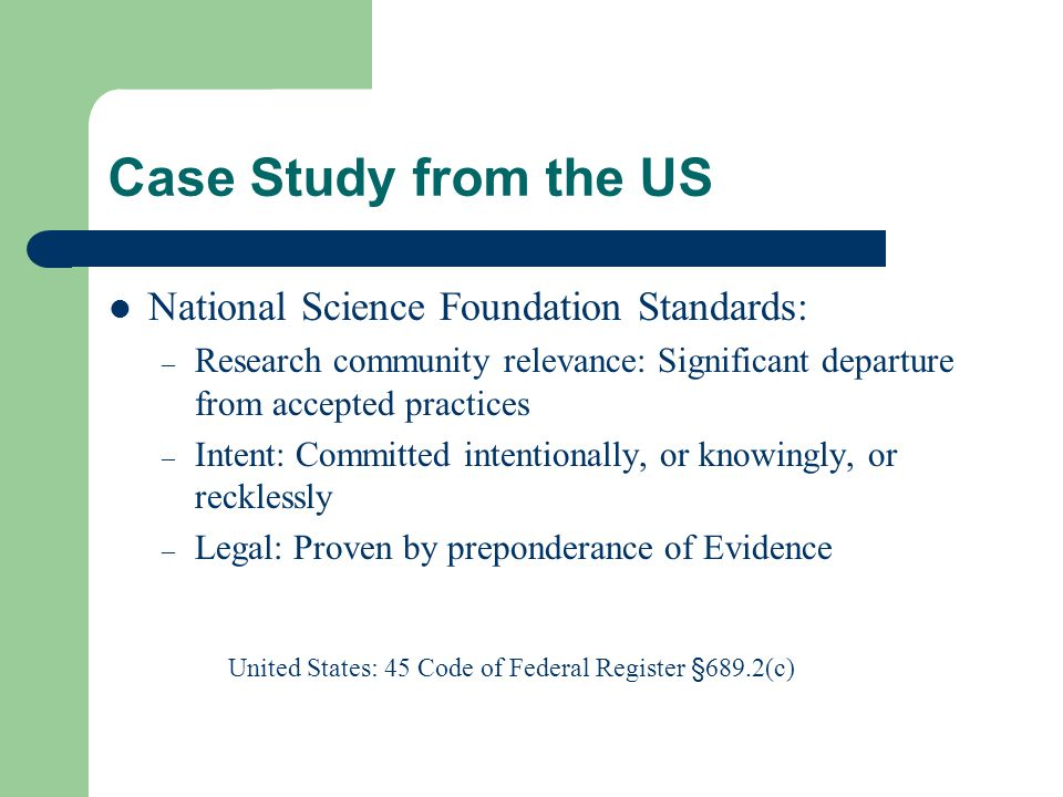 Case Study from the US National Science Foundation Standards: