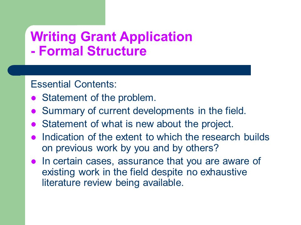 Writing Grant Application - Formal Structure
