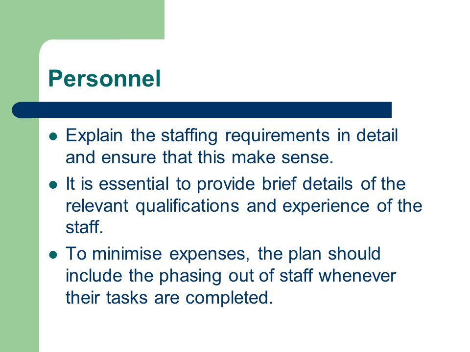 Personnel Explain the staffing requirements in detail and ensure that this make sense.