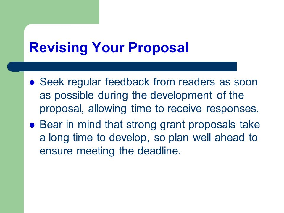 Revising Your Proposal