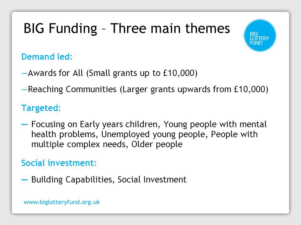 BIG Funding – Three main themes