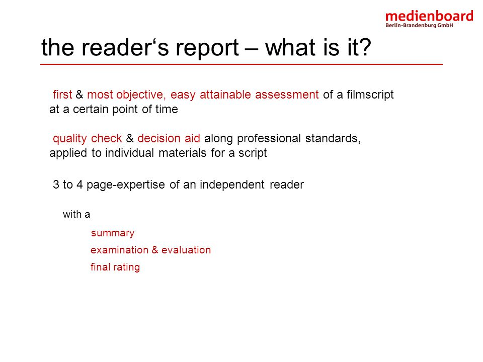 the reader's report – what is it