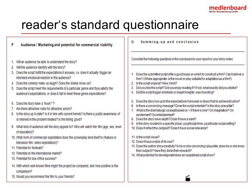 reader's standard questionnaire
