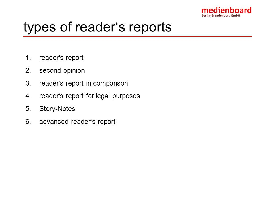 types of reader's reports