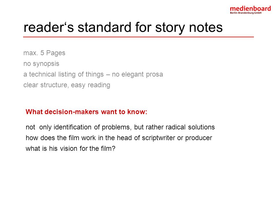 reader's standard for story notes