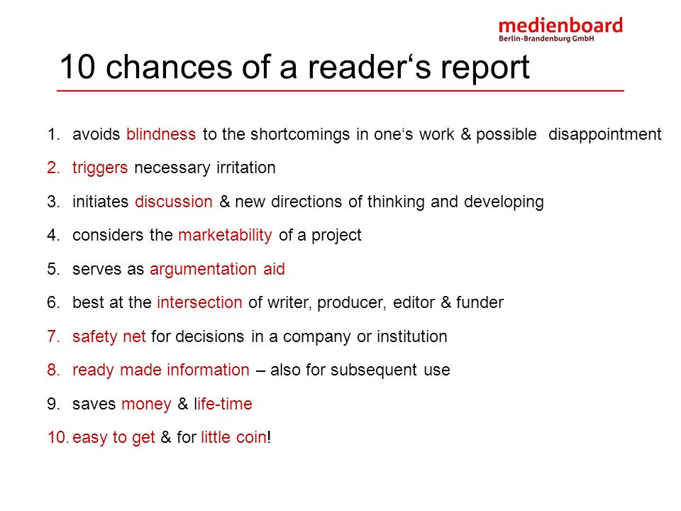 10 chances of a reader's report