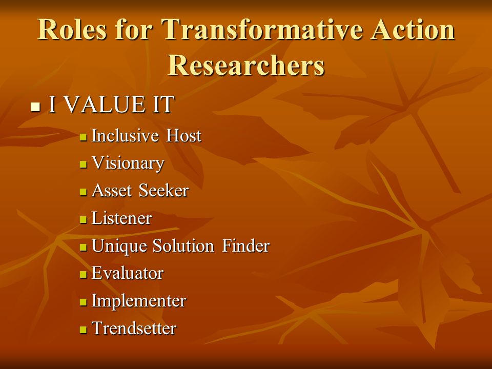 Roles for Transformative Action Researchers