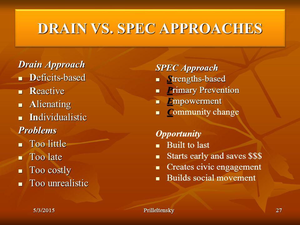 DRAIN VS. SPEC APPROACHES