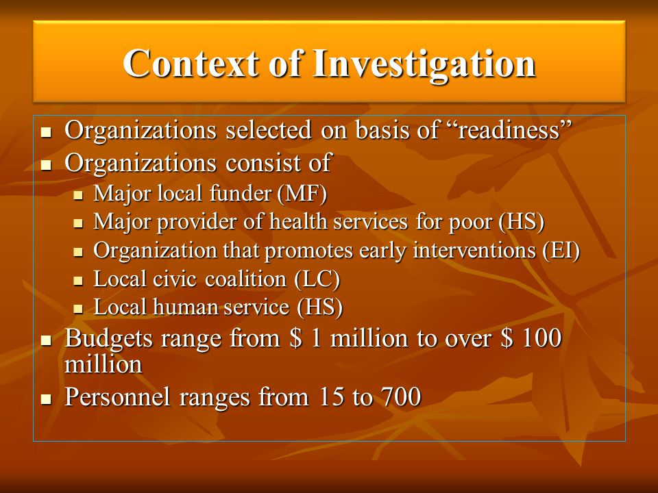 Context of Investigation