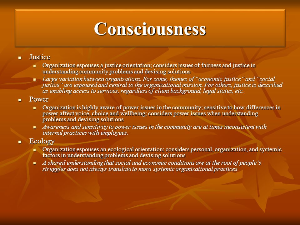 Consciousness Justice Power Ecology