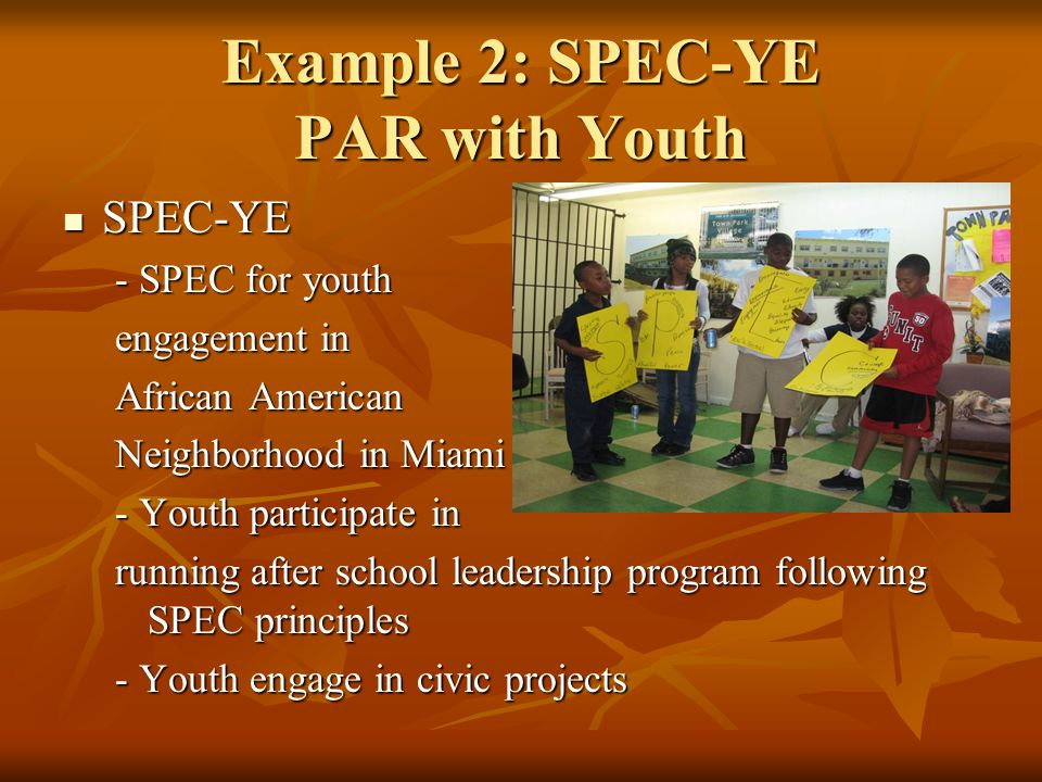 Example 2: SPEC-YE PAR with Youth