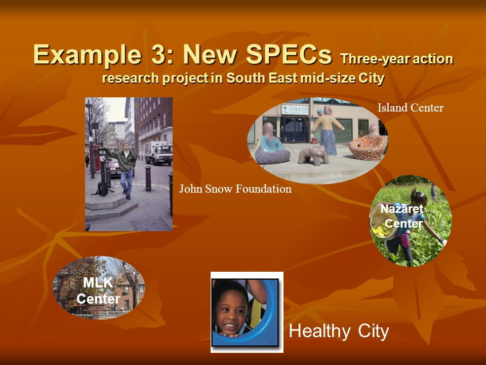 Example 3: New SPECs Three-year action research project in South East mid-size City