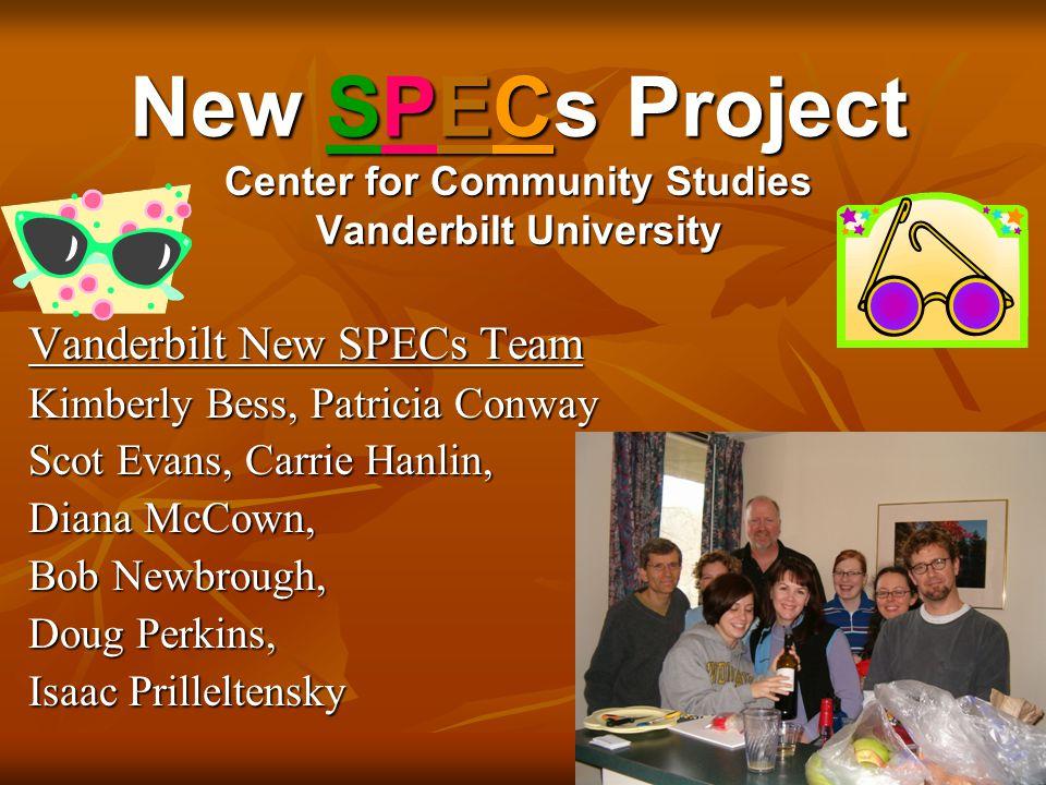 New SPECs Project Center for Community Studies Vanderbilt University