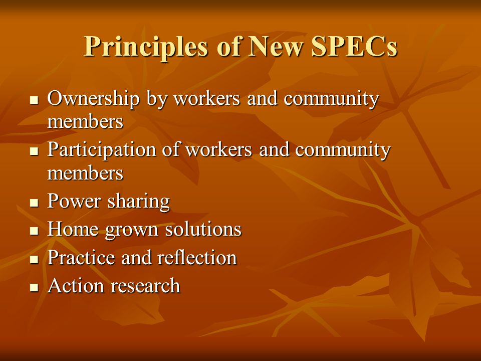 Principles of New SPECs