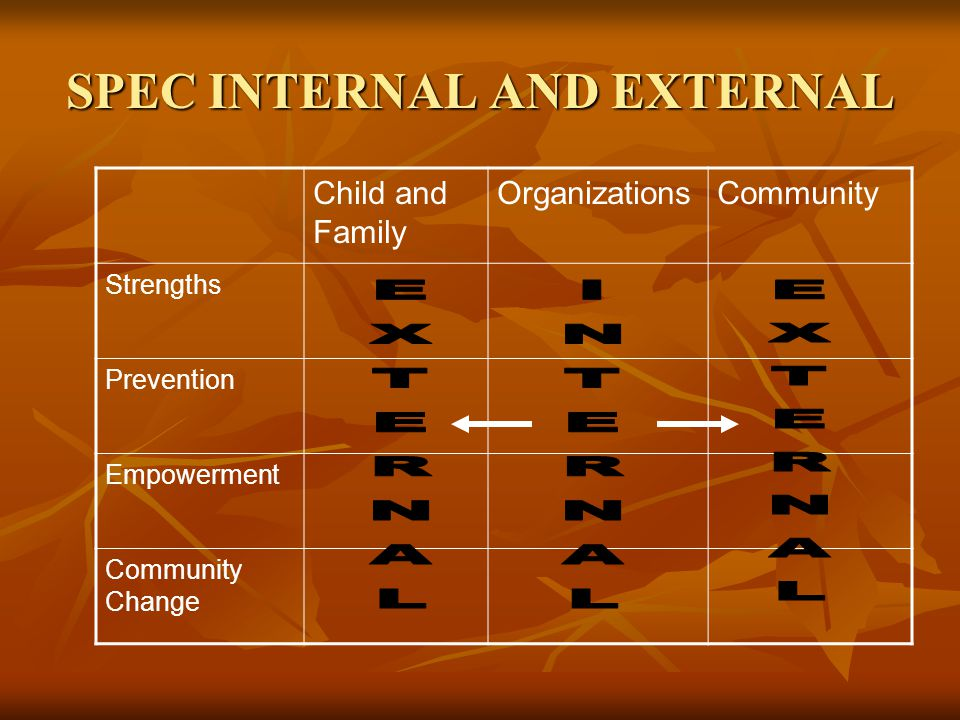 SPEC INTERNAL AND EXTERNAL