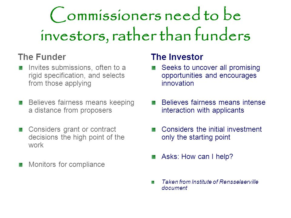 Commissioners need to be investors, rather than funders