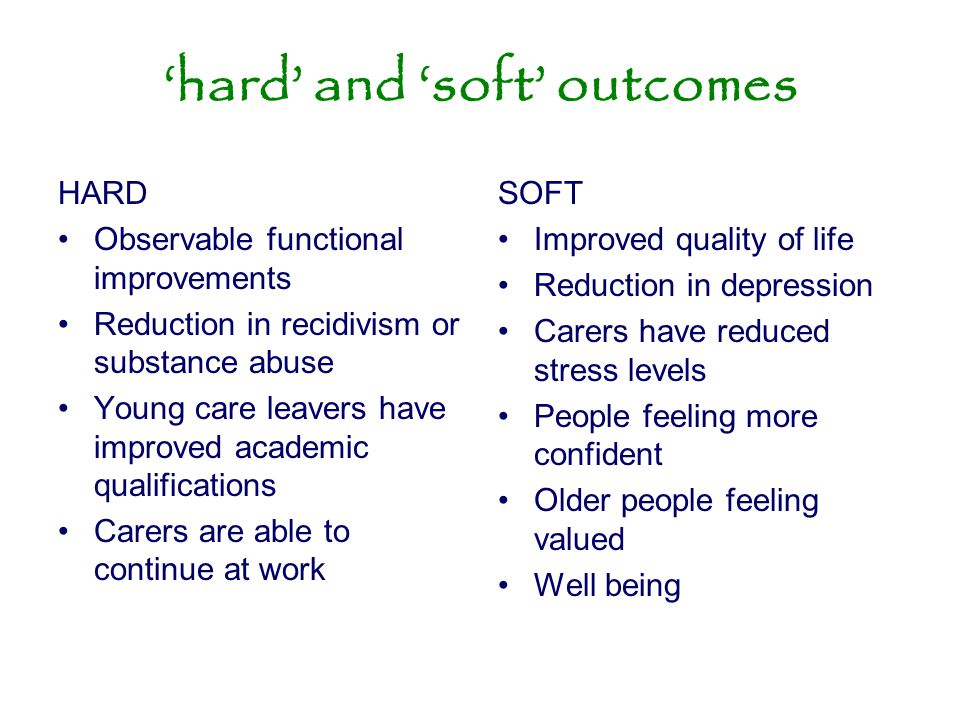 'hard' and 'soft' outcomes