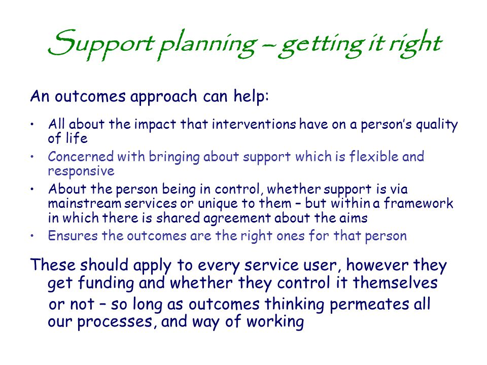 Support planning – getting it right
