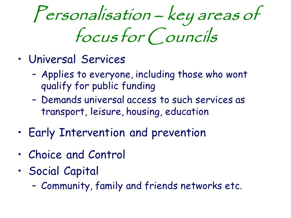 Personalisation – key areas of focus for Councils