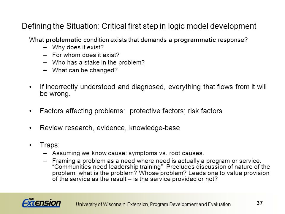 Defining the Situation: Critical first step in logic model development