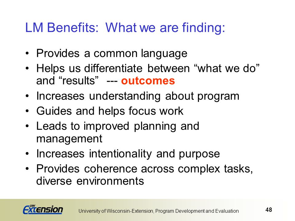 LM Benefits: What we are finding: