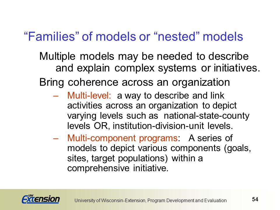 Families of models or nested models