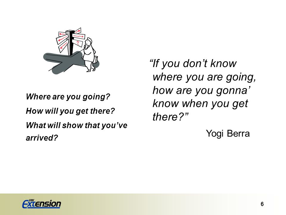 If you don't know where you are going, how are you gonna' know when you get there