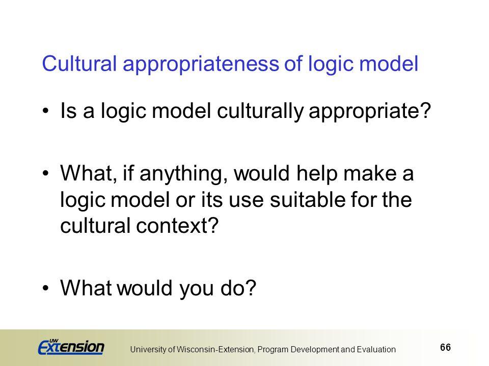 Cultural appropriateness of logic model