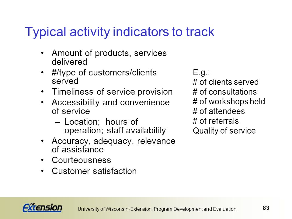 Typical activity indicators to track