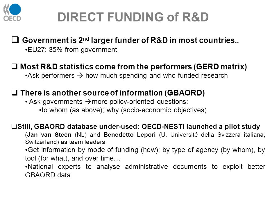 DIRECT FUNDING of R&D Government is 2nd larger funder of R&D in most countries.. EU27: 35% from government.